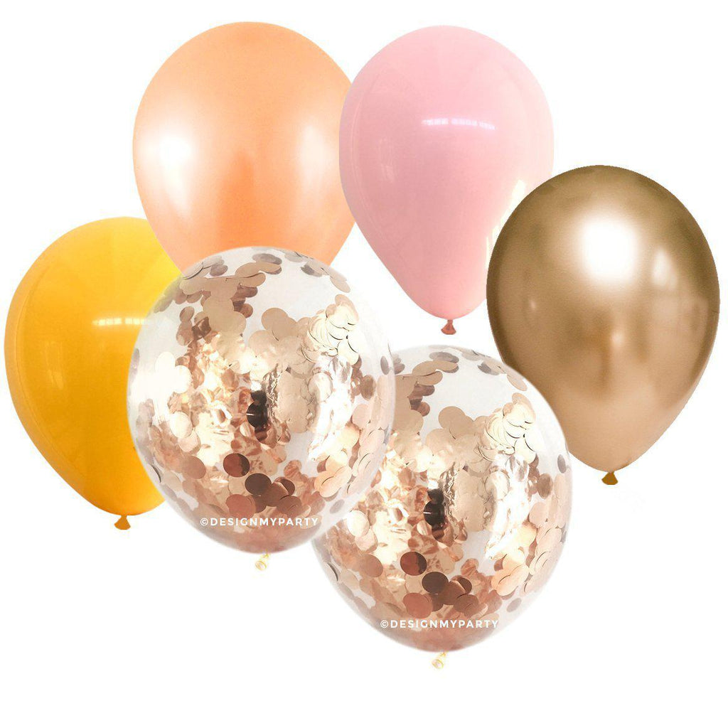 Peach, Pink, Gold, Yellow Confetti Balloon Bouquet (12 Pack)-Party Love