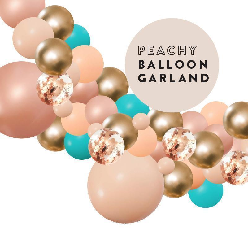 Peachy Tropical Teal, Blush Rose Gold Balloon Garland 2 Meter BG024-Party Love