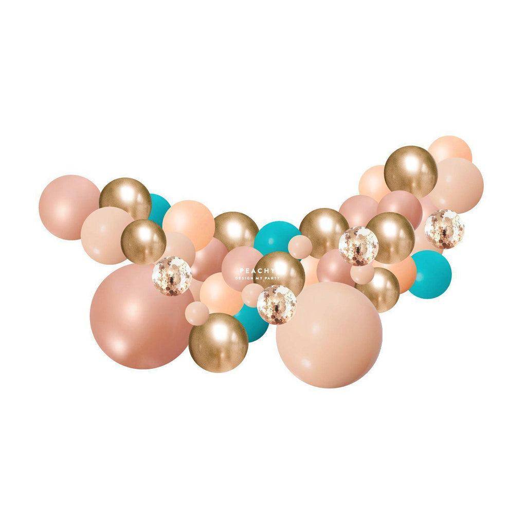 Peachy Tropical Teal, Blush Rose Gold Balloon Garland 2 Meter PLBG010-Party Love
