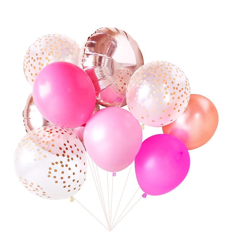 Pink Balloon Bouquet (9 Pack)-Party Love