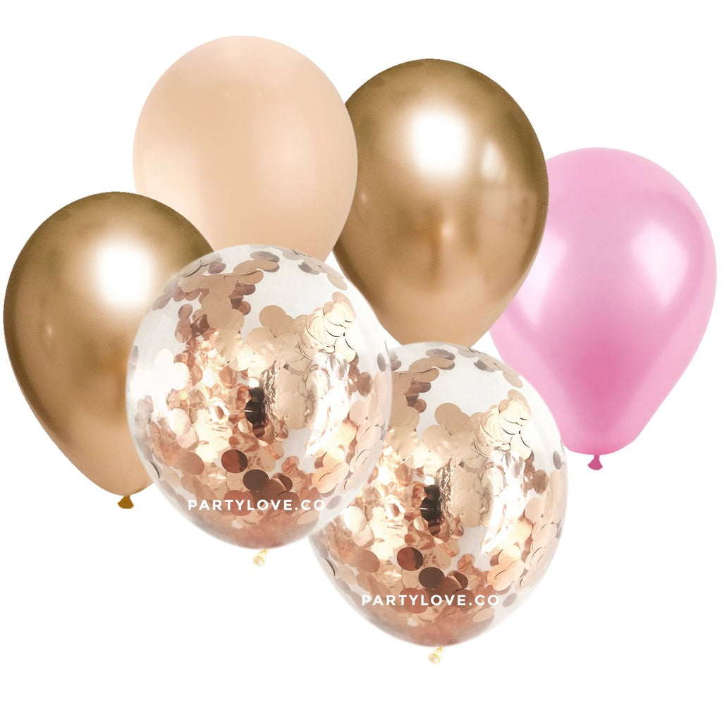 Pink, Blush, Gold Confetti Balloon Bouquet (12 Pack)-Party Love