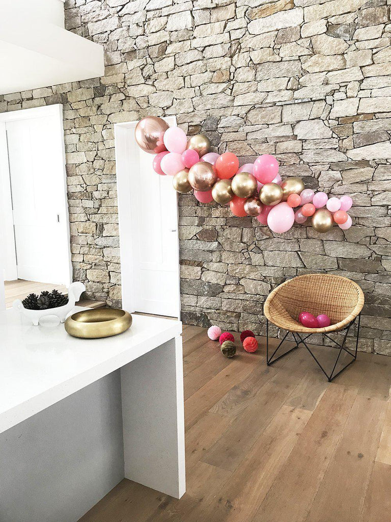 Pink, Coral, Chrome Gold and Rose Gold 2 Meter Balloon Garland BG8-Party Love