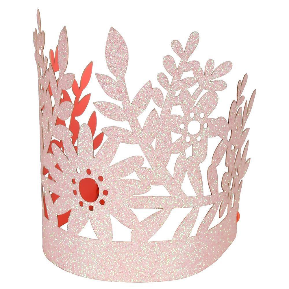 Pink Glitter Crowns (8 Pack)-Party Love