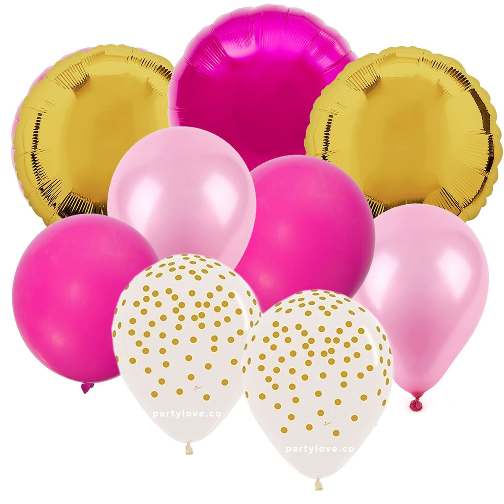 Pink Gold Balloon Bouquet (9 Pack) PL0144-Party Love