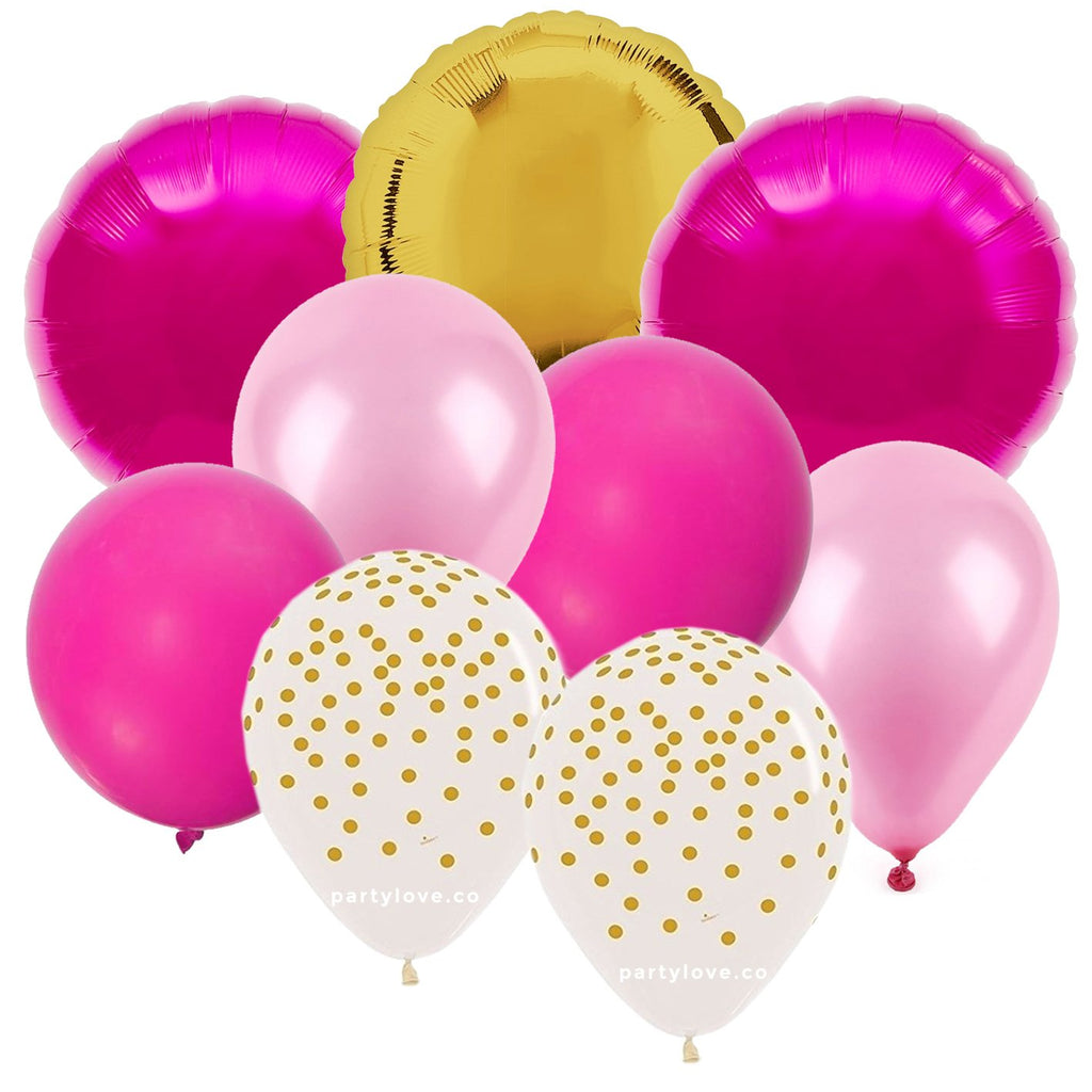 Pink Gold Balloon Bouquet (9 Pack)-Party Love