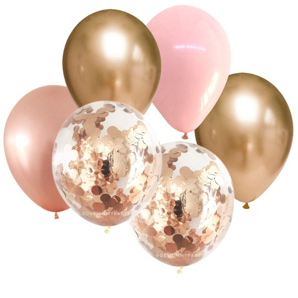Pink, Gold Chrome, Rose Gold Confetti Balloon Bouquet (12 Pack)-Party Love