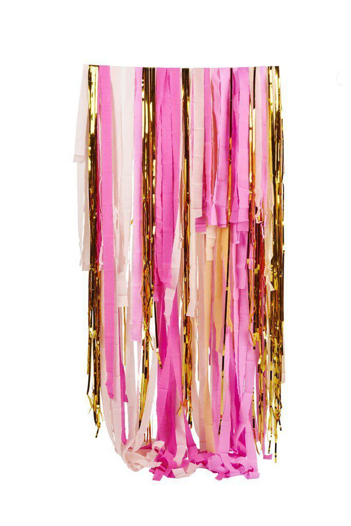 Pink Gold Shimmer Streamers Wall Decoration Backdrop-Party Love