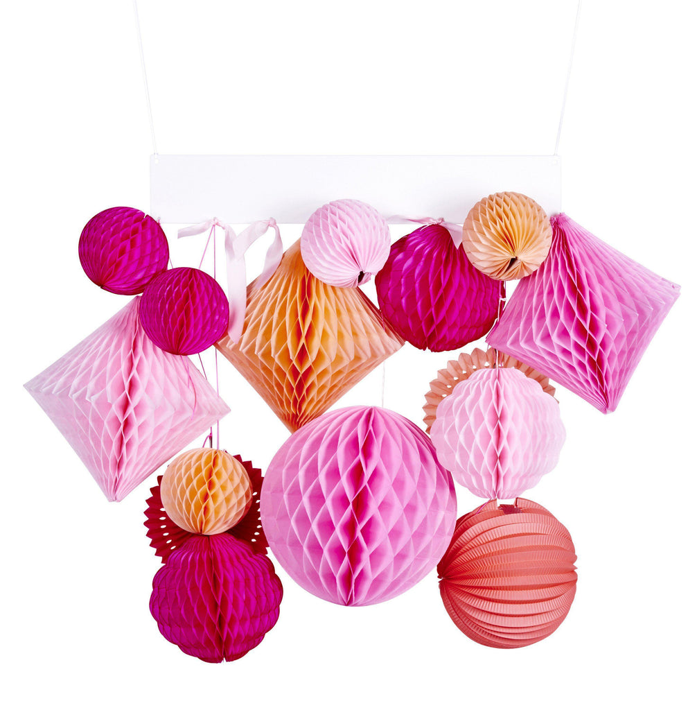 Pink Peach Honeycomb Garland Kit-Party Love