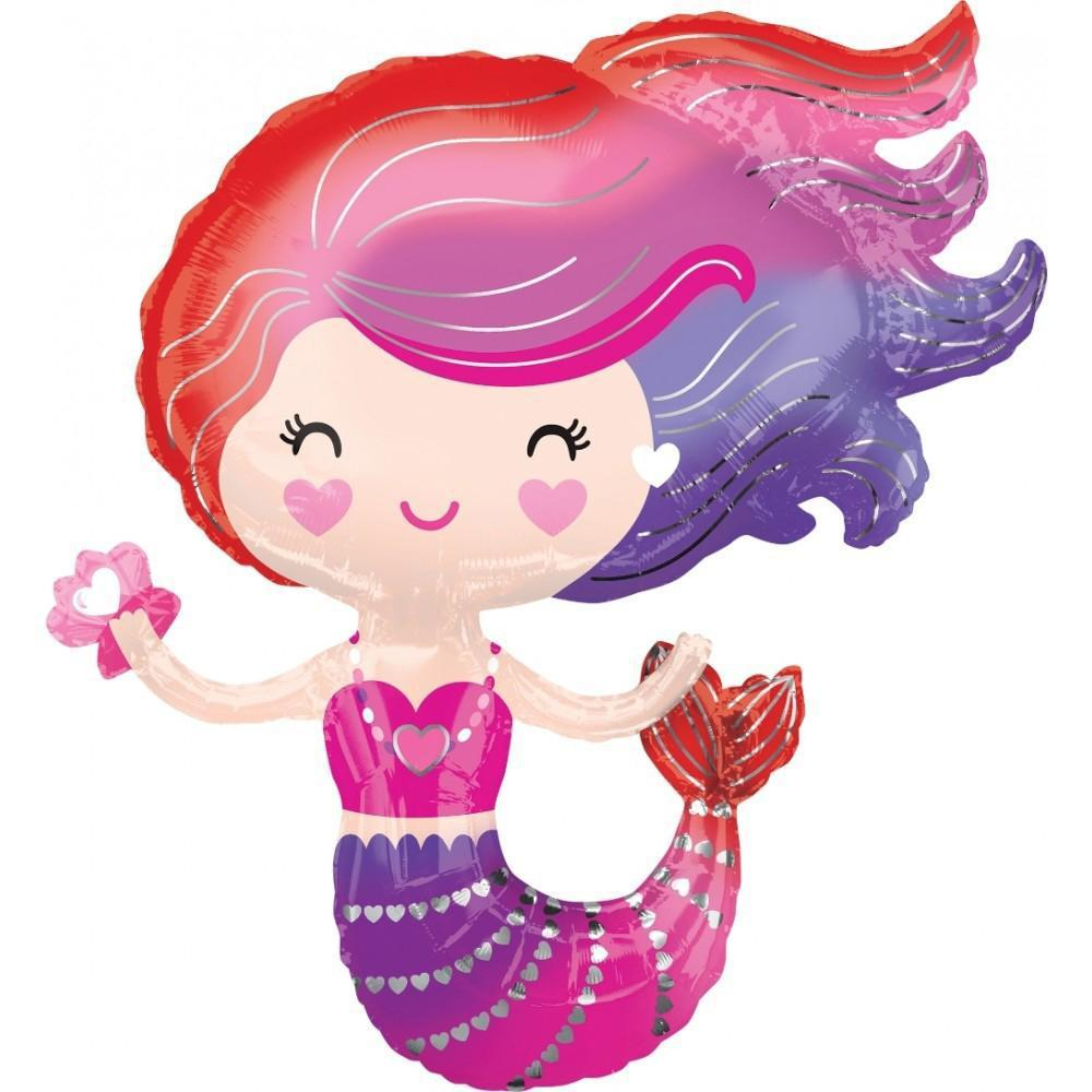 Pink Rainbow Mermaid Foil Balloon 76cm-Party Love
