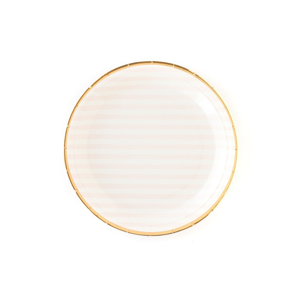 "Pink Striped 9"" Party Plates-Party Love"