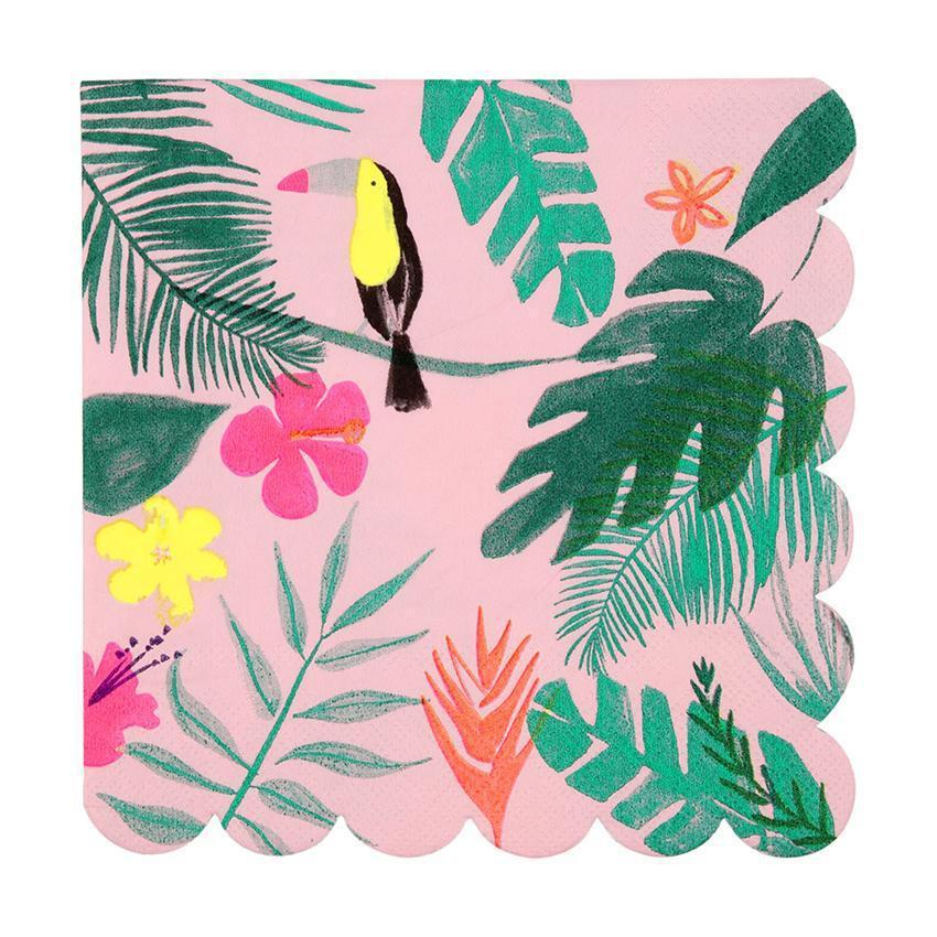 Pink Tropical Napkins Large-Party Love