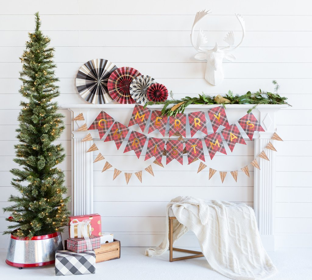 Plaid Merry Christmas Bunting Banner Flags-Party Love