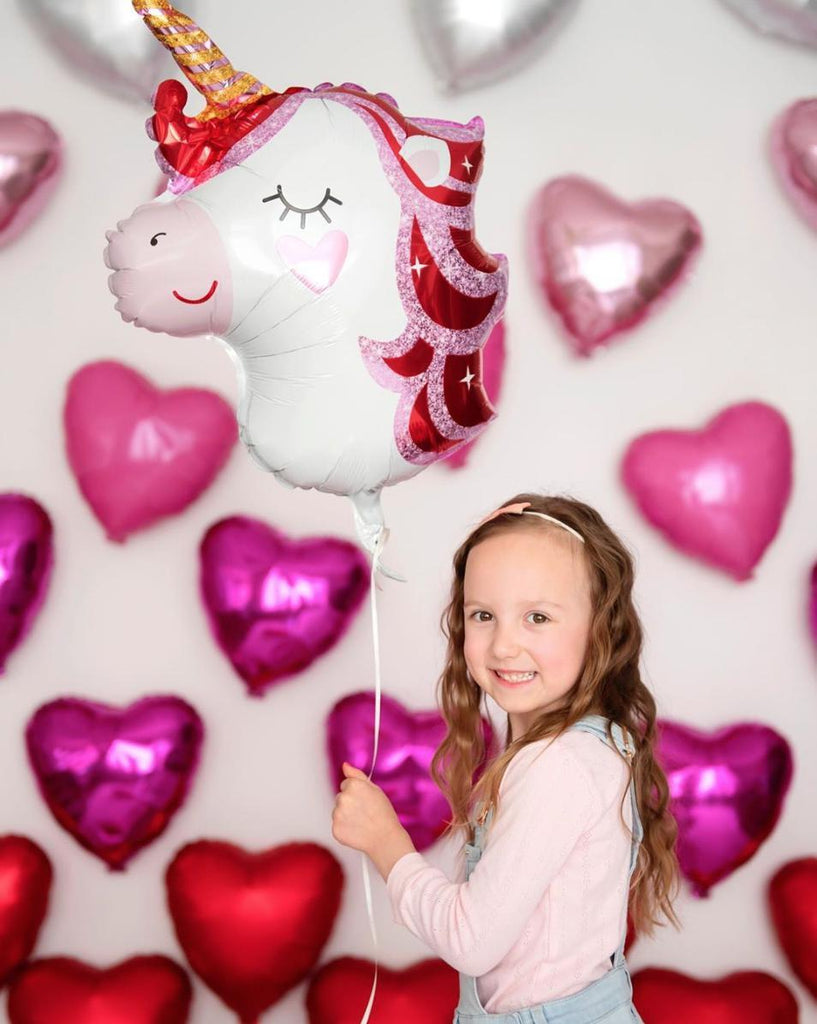 Pretty in Pink Foil Unicorn Balloon (40cm x 53cm)-Party Love