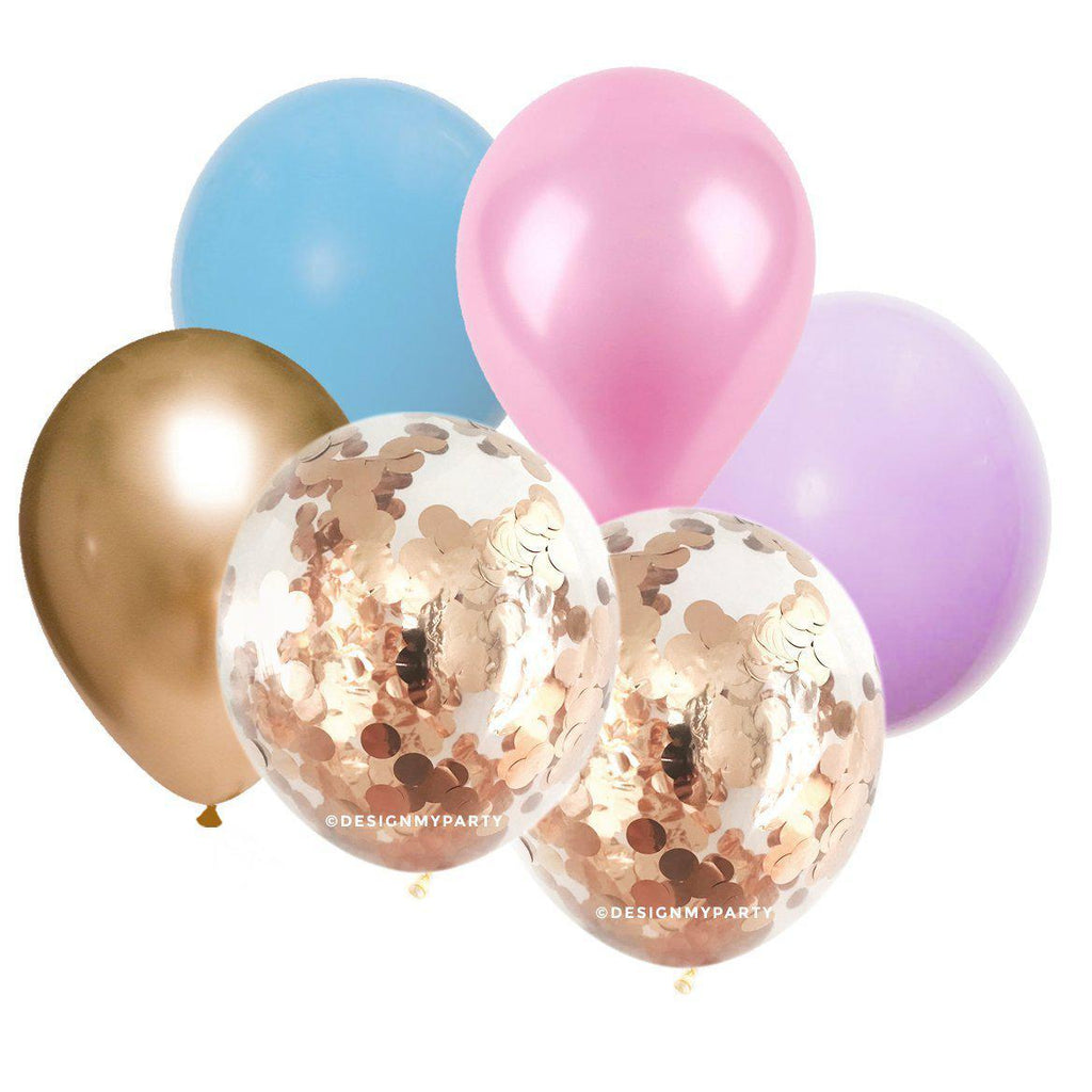 Princess Glam Gold, Pink, Blue, Lilac, Confetti Balloon Bouquet (12 Pack)-Party Love