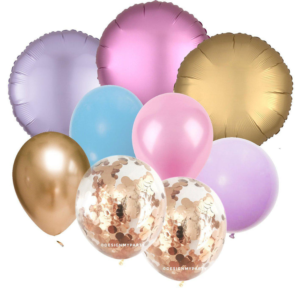 Princess Luxe Chrome, Gold, Pink, Blue, Lilac, Confetti Balloon Bouquet (9 Pack)-Party Love