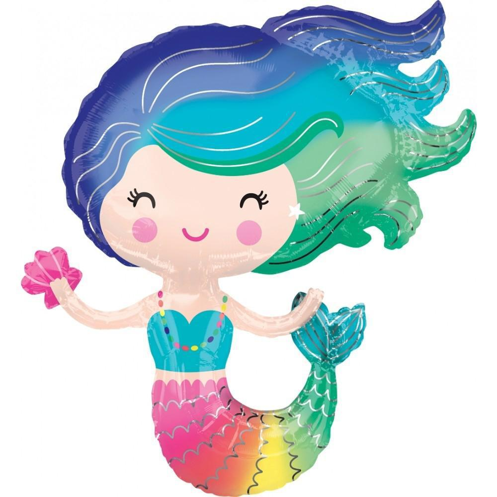 Rainbow Mermaid Foil Balloon 76cm-Party Love