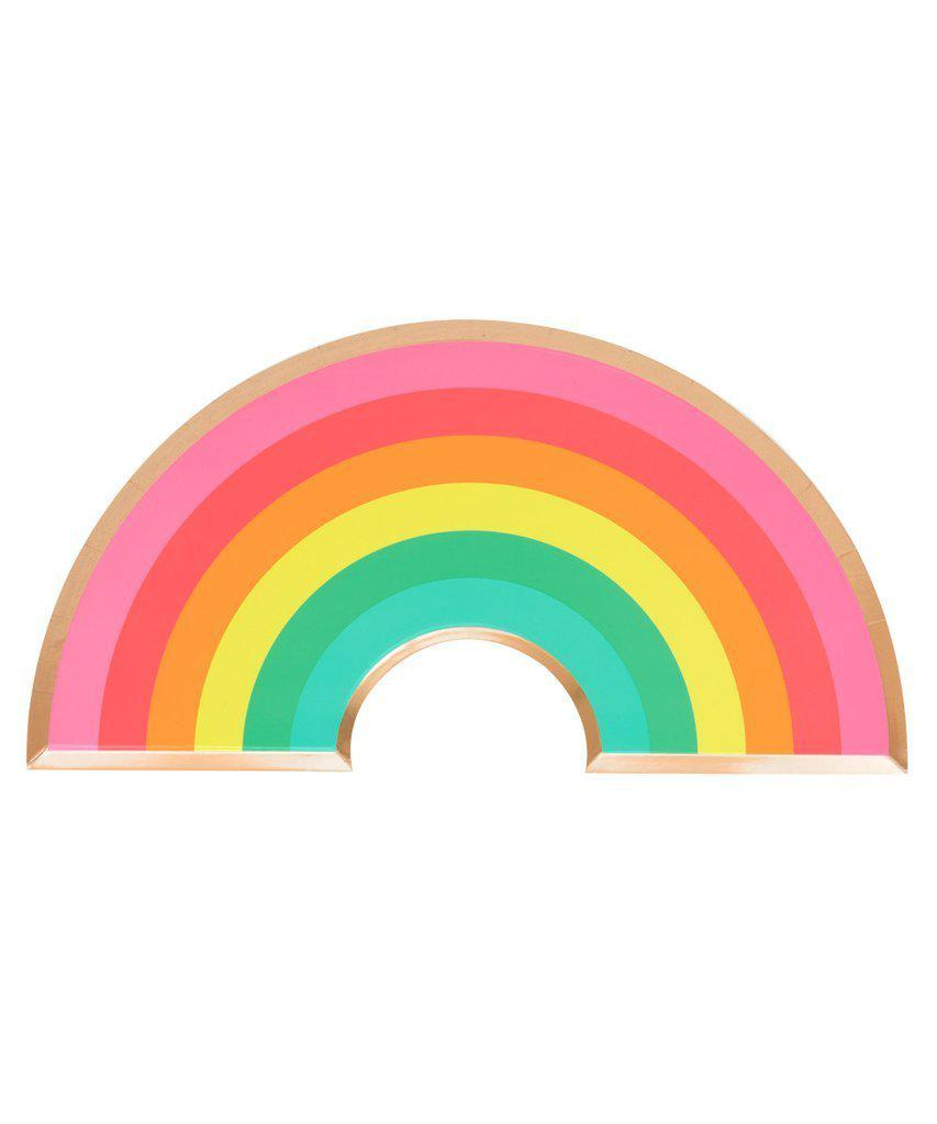 Rainbow Party Plates with Gold Foil-Party Love