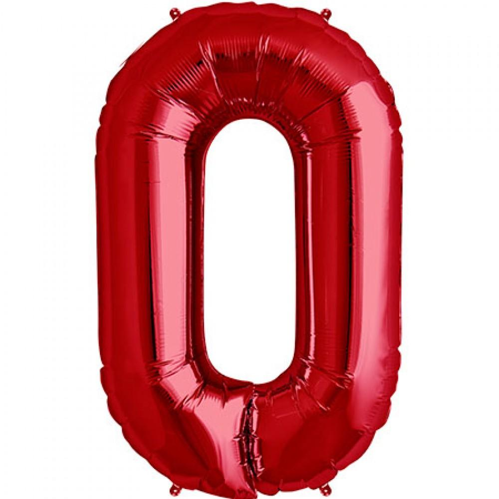 Red 83cm Jumbo Number 0 Red Foil Balloon-Party Love