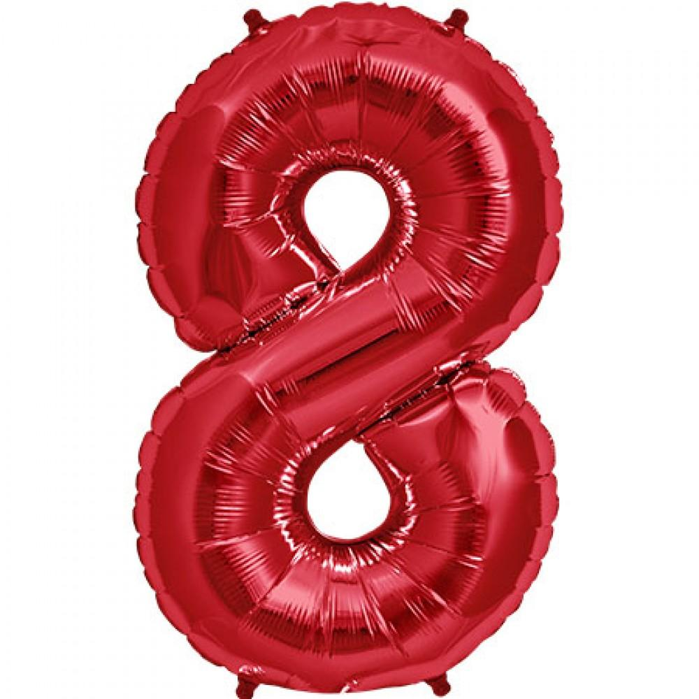 Red 83cm Jumbo Number 8 Red Foil Balloon-Party Love