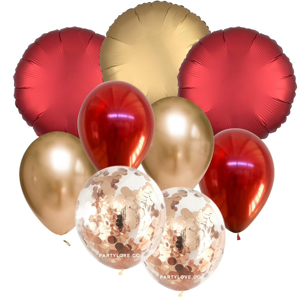 Red Gold Luxe Chrome Confetti Balloon Bouquet (9 Pack)-Party Love