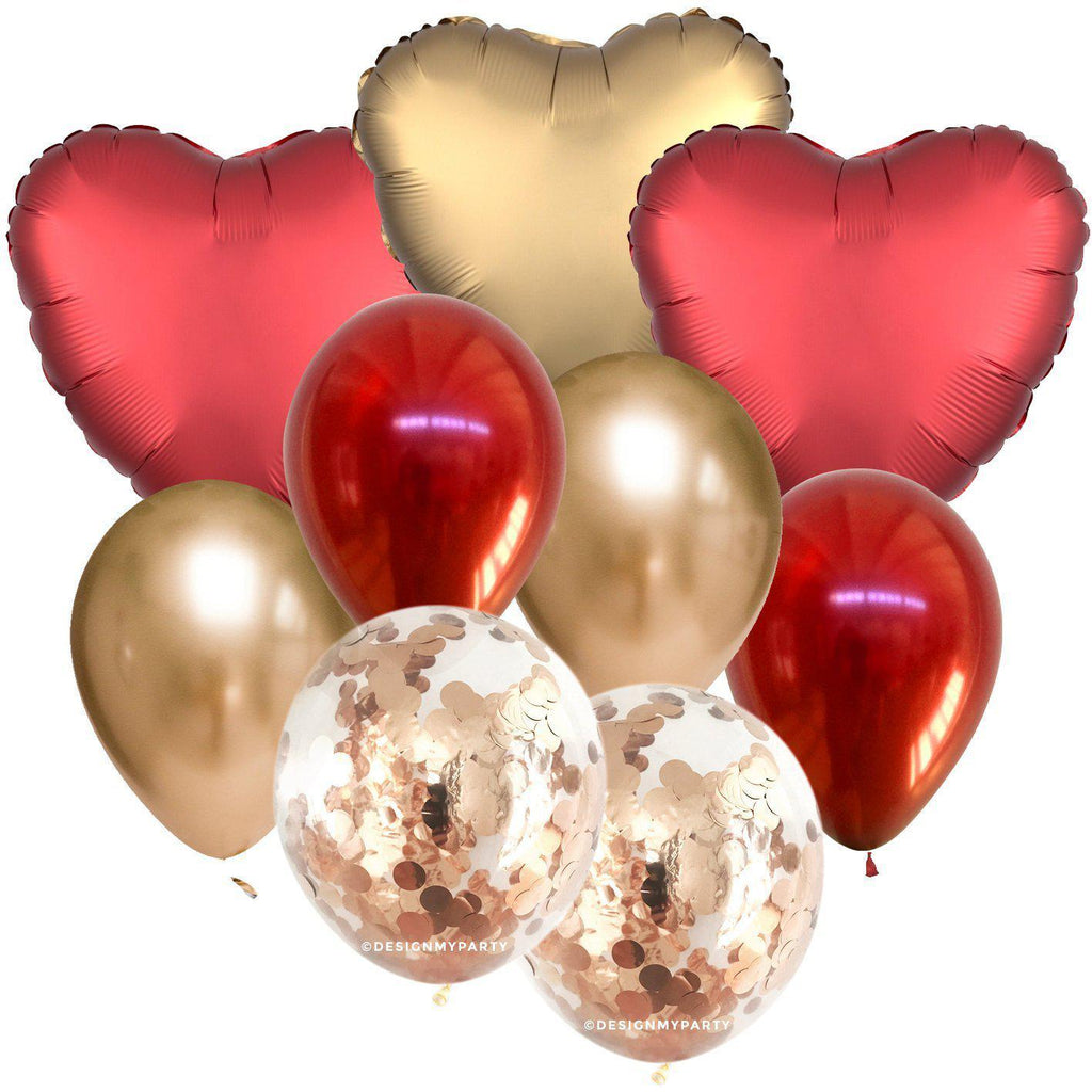 Red & Gold Luxe Hearts Confetti Balloon Bouquet (9 Pack)-Party Love