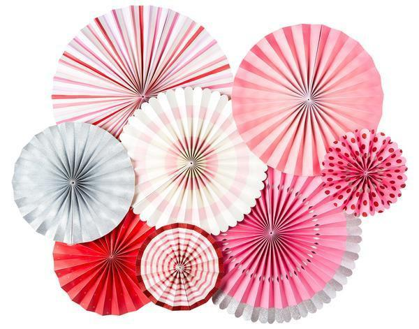 Red, Silver & Pink Party Fans-Party Love
