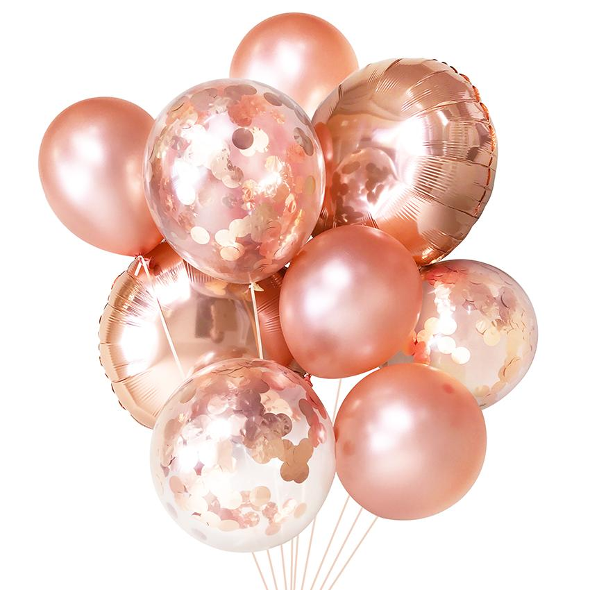 Rose Gold Balloon Bouquet (9 Pack)-Party Love