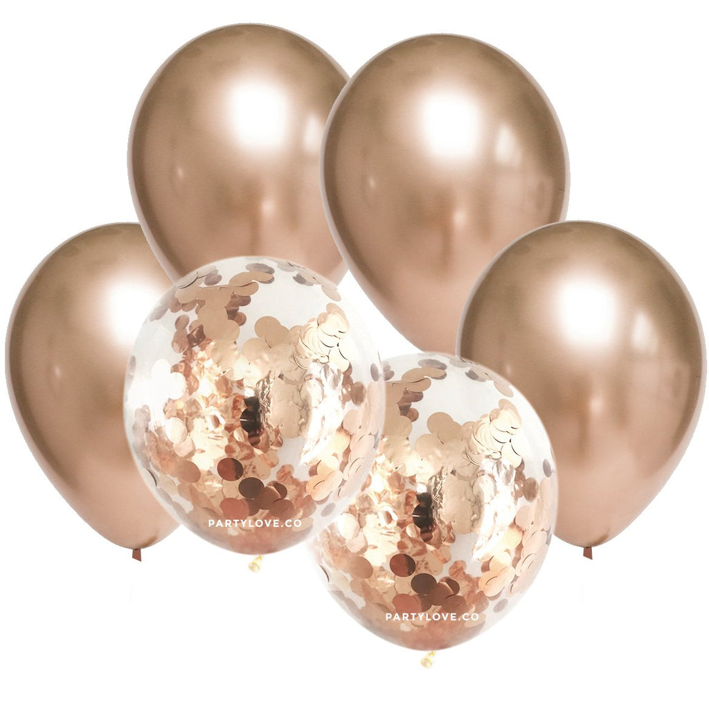 Rose Gold Chrome Champagne Confetti Balloon Bouquet (12 Pack)-Party Love