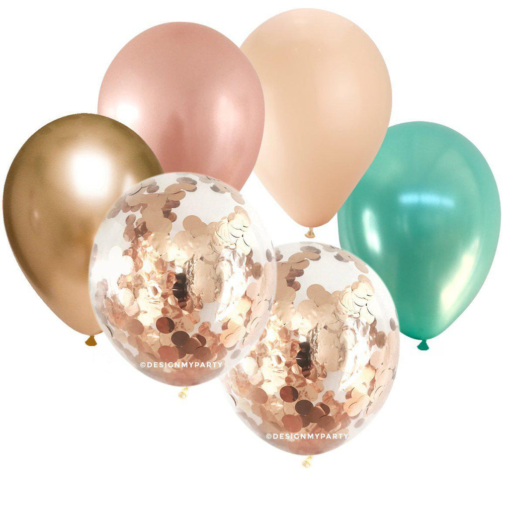 Rose Gold Copper, Gold Blush & Mint Confetti Balloon Bouquet (12 Pack)-Party Love