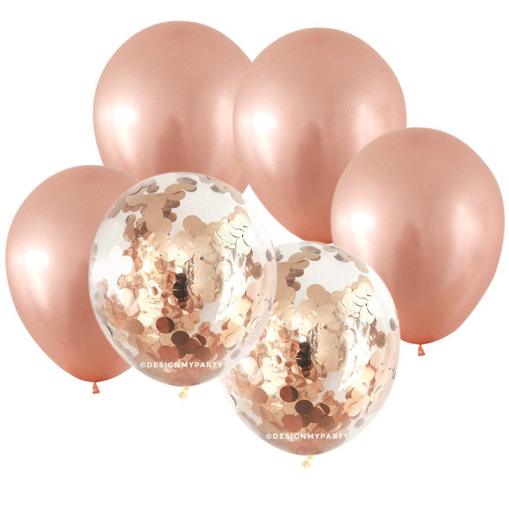 Rose Gold Glam – Confetti Balloon Bouquet (12 Pack)-Party Love