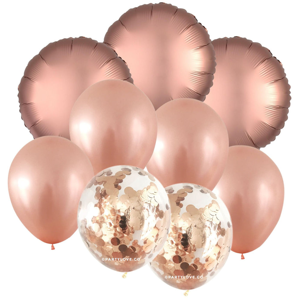 Rose Gold Glam – Luxe Confetti Balloon Bouquet (9 Pack)-Party Love