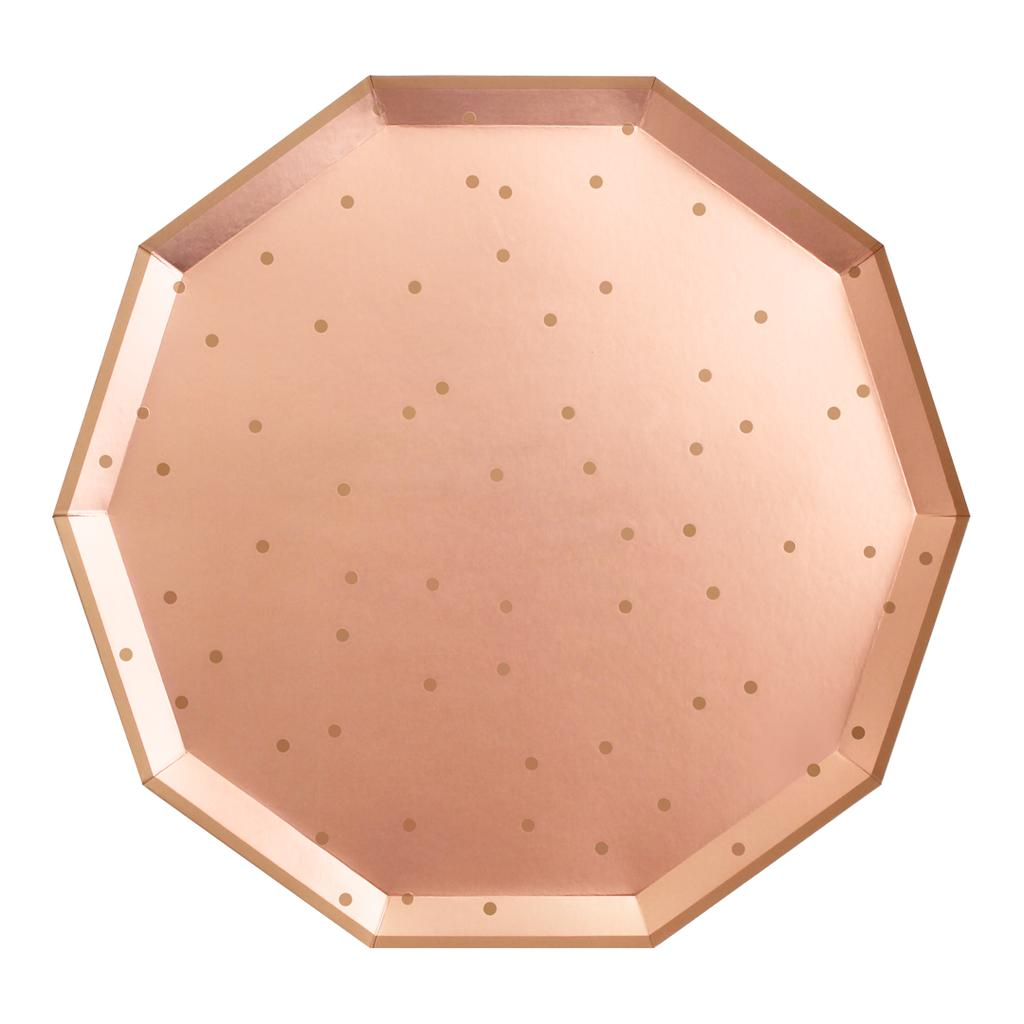 "Rose Gold Paper Party Plates 11""-Party Love"