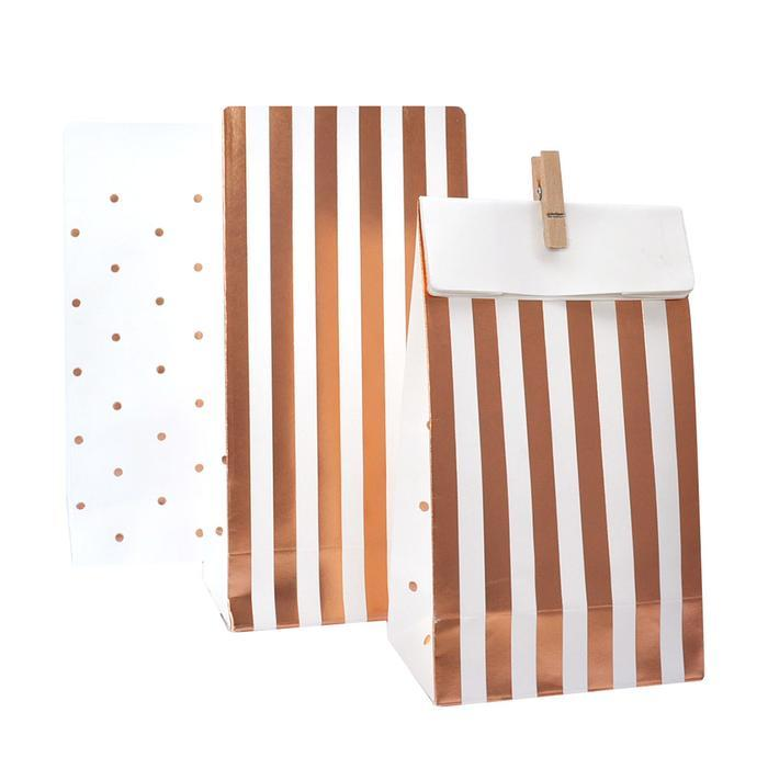 Rose Gold Stripes & Dots Treat Bags (10 Pack)-Party Love