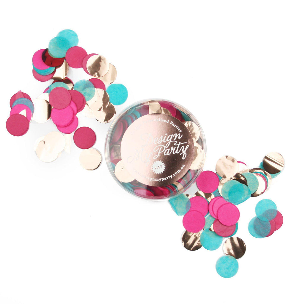 Royal Glam Turquoise, Boysenberry, Cerise Hot Pink & Rose Gold Copper Confetti-Party Love