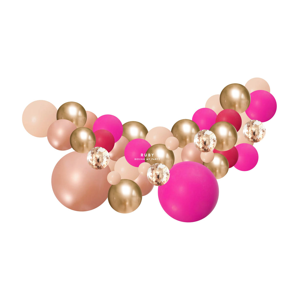 Ruby Fuschia Pink, Wild Berry, Blush Rose Gold Balloon Garland 2 Meter PLBG013-Party Love