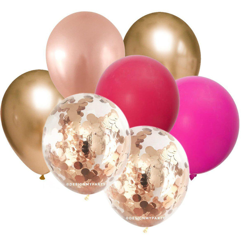 Ruby Glam – Rose Gold Copper Confetti Balloon Bouquet (12 Pack)-Party Love