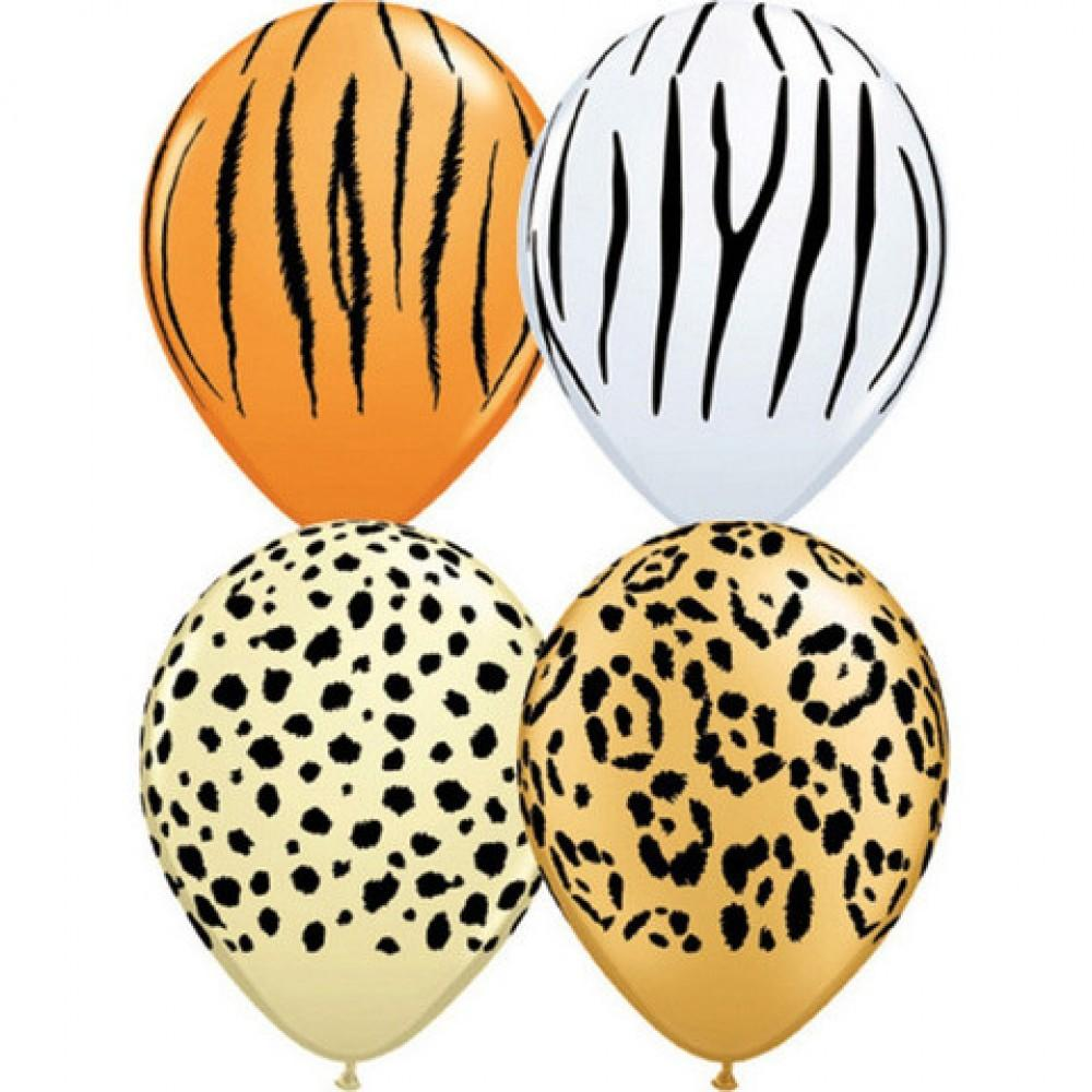 "Safari Balloon Mix (28cm) 11"" (8 Pack)-Party Love"