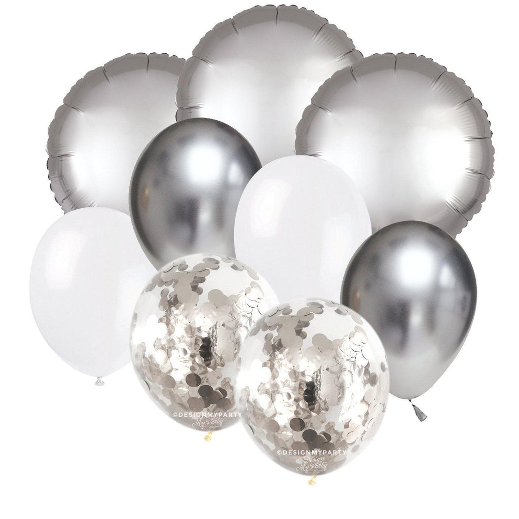 Sand Shimmer Glam – Luxe Chrome Balloon Bouquet (9 Pack)-Party Love