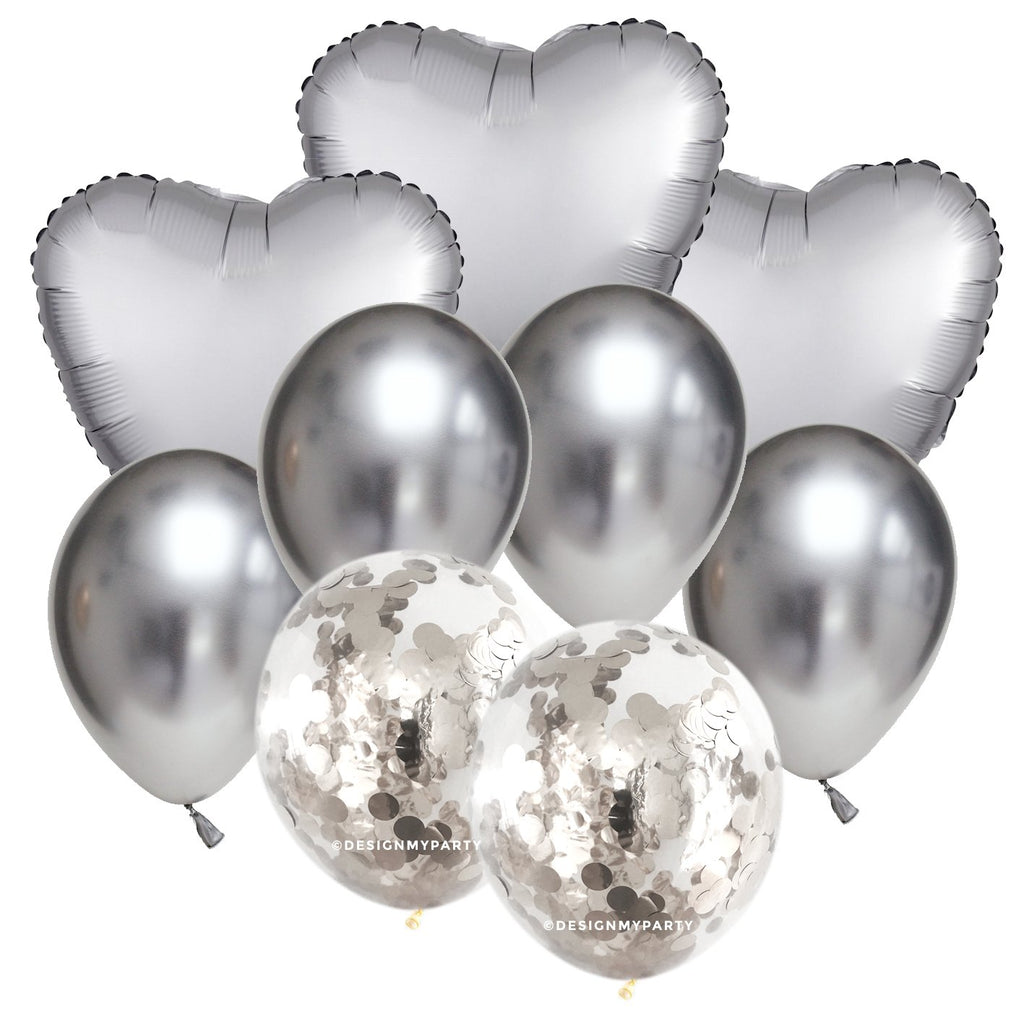 Sand Shimmer Hearts – Luxe Chrome Balloon Bouquet (9 Pack)-Party Love