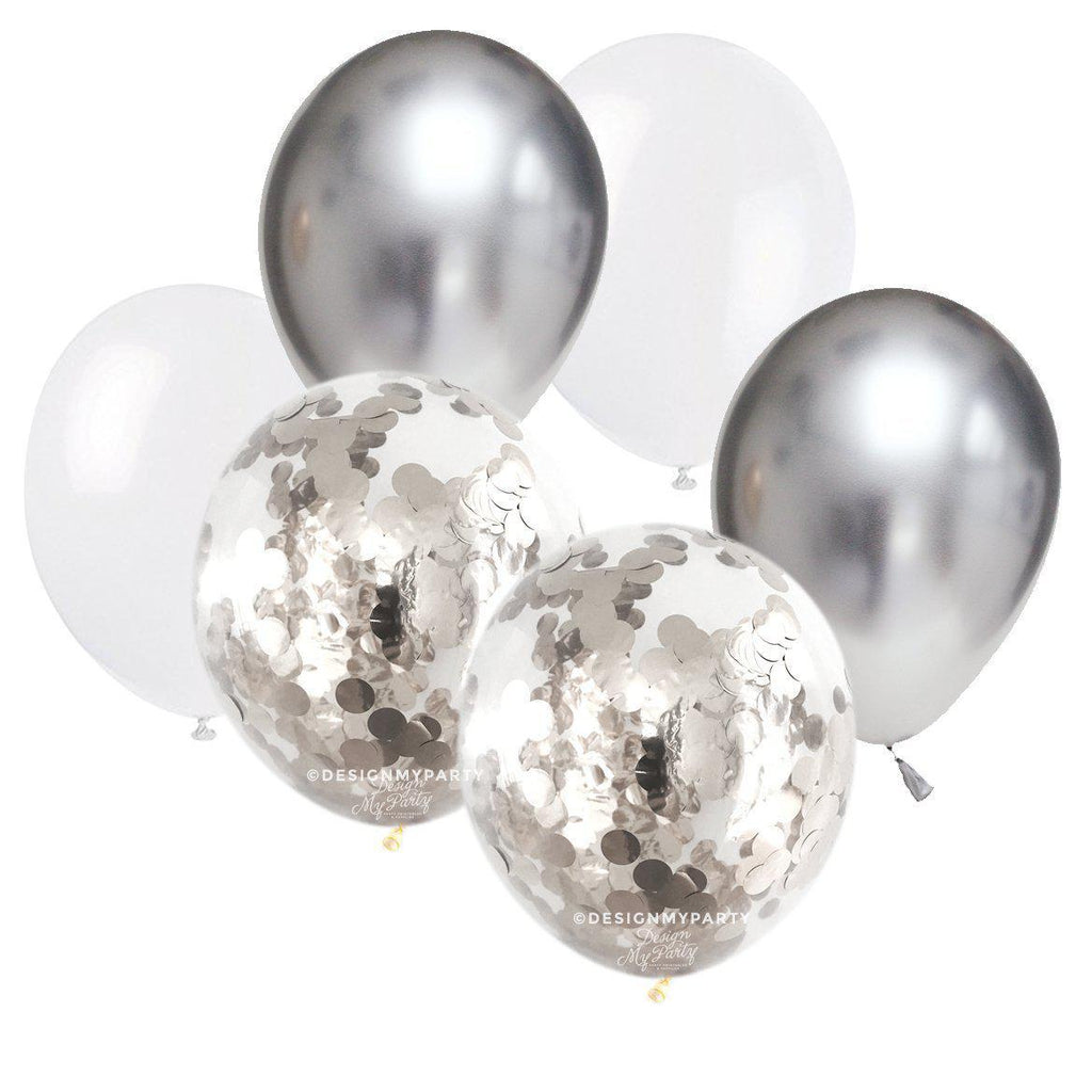 Sand Shimmer White, Chrome Silver Confetti Balloon Bouquet (12 Pack)-Party Love