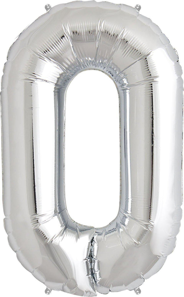 Silver 83cm Jumbo Number 0 Silver Foil Balloon-Party Love