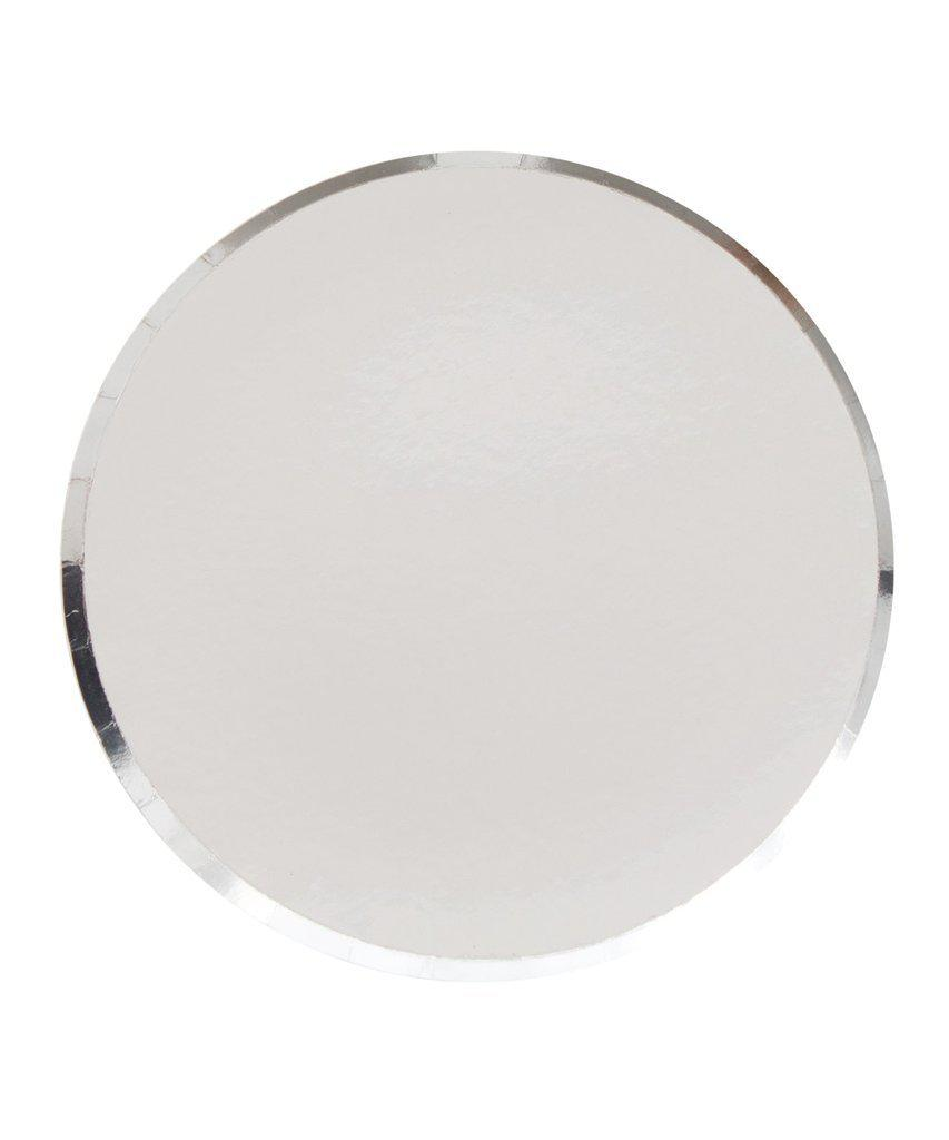 Silver Paper Party Plates (Large)-Party Love