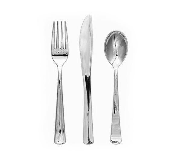 Silver Plastic Cutlery Assorted (24 Pack) - Spoons, Forks, Knives-Party Love