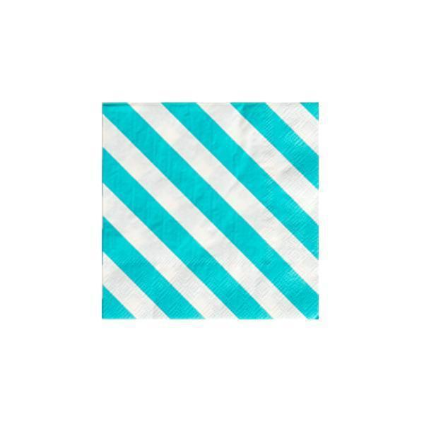 Sky Blue stripe cocktail napkins-Party Love