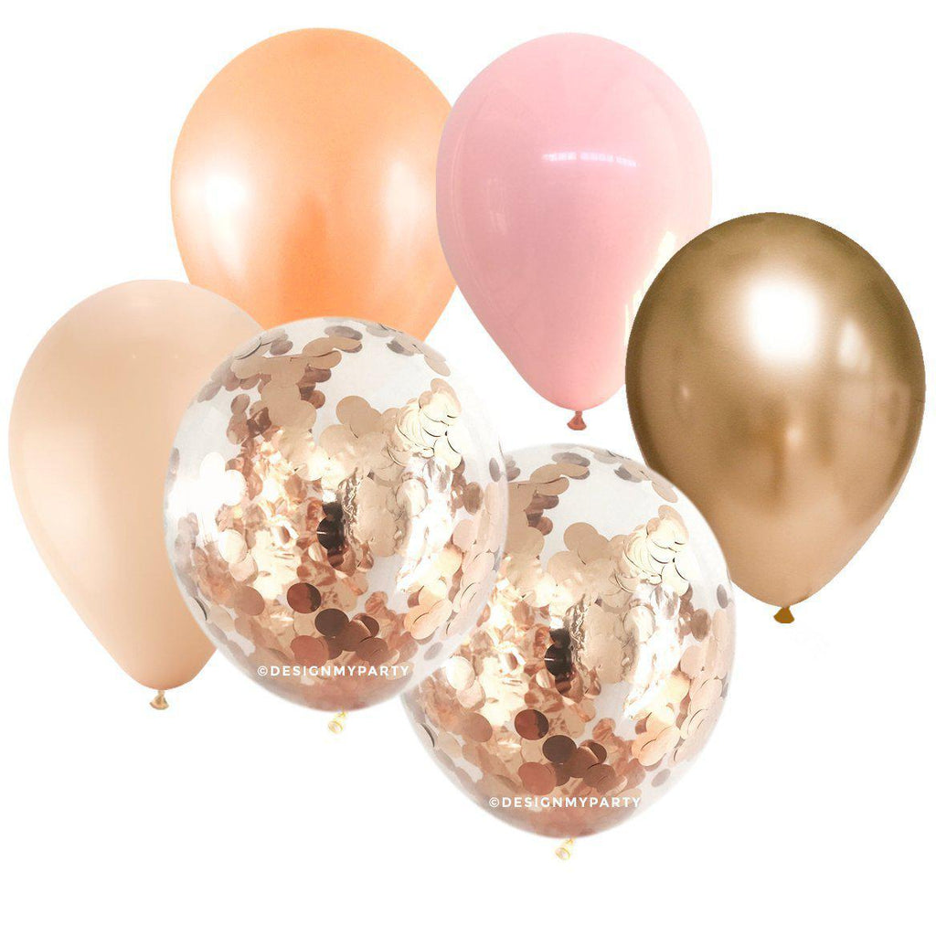 Sorbet Blush, Pink, Peach, Rose Gold Confetti Balloon Bouquet (12 Pack)-Party Love