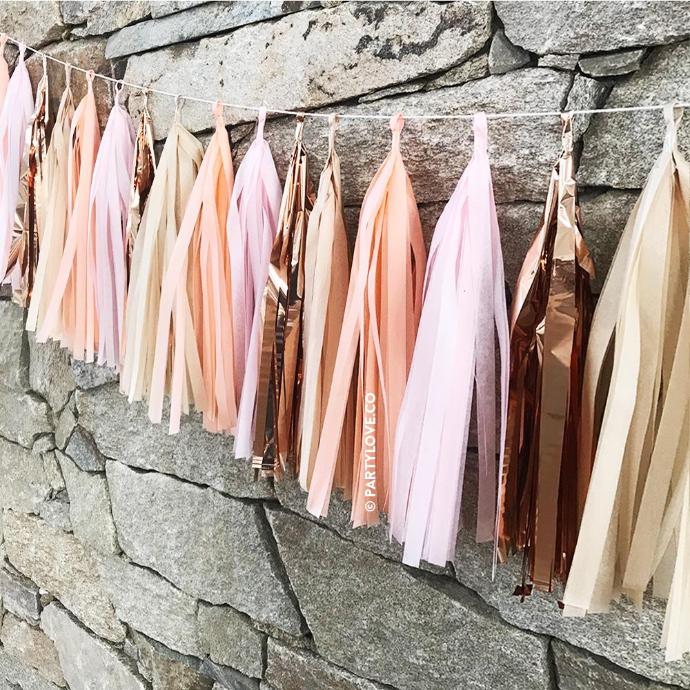 Sorbet Glam - Pink, Peach, Tan and Rose Gold Tassel Garland-Party Love