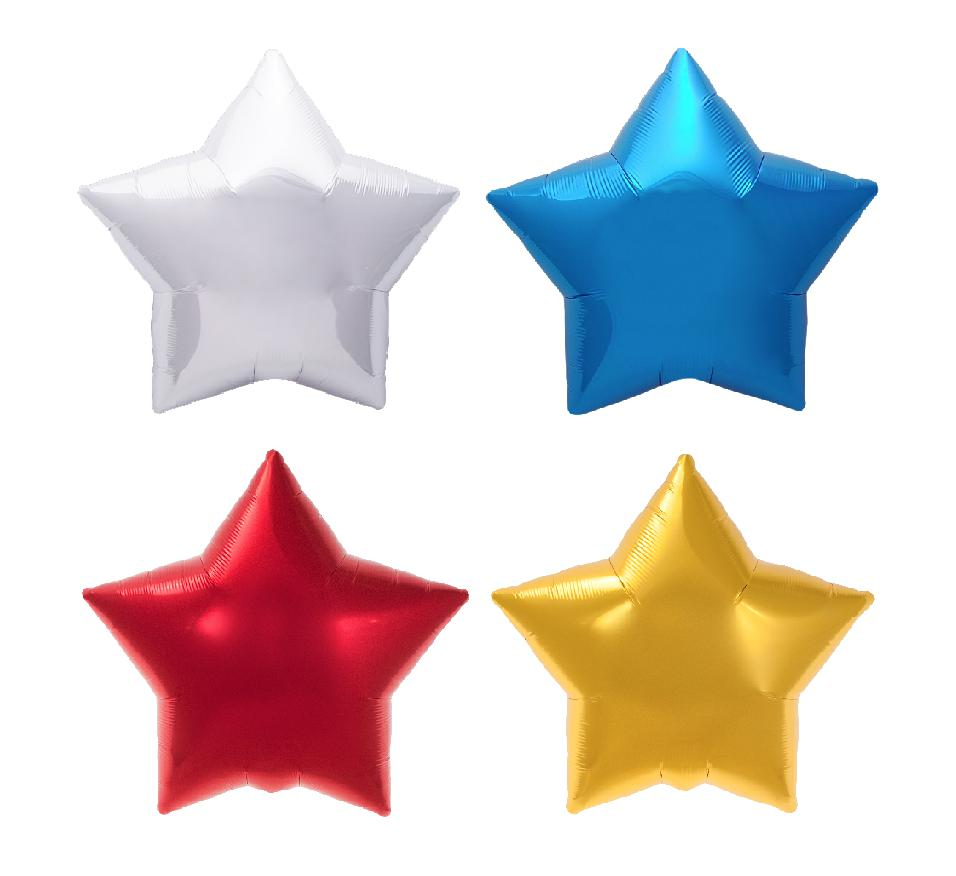 "Star Foil Balloons - Red, Silver, White, Blue 20"" (50cm)-Party Love"