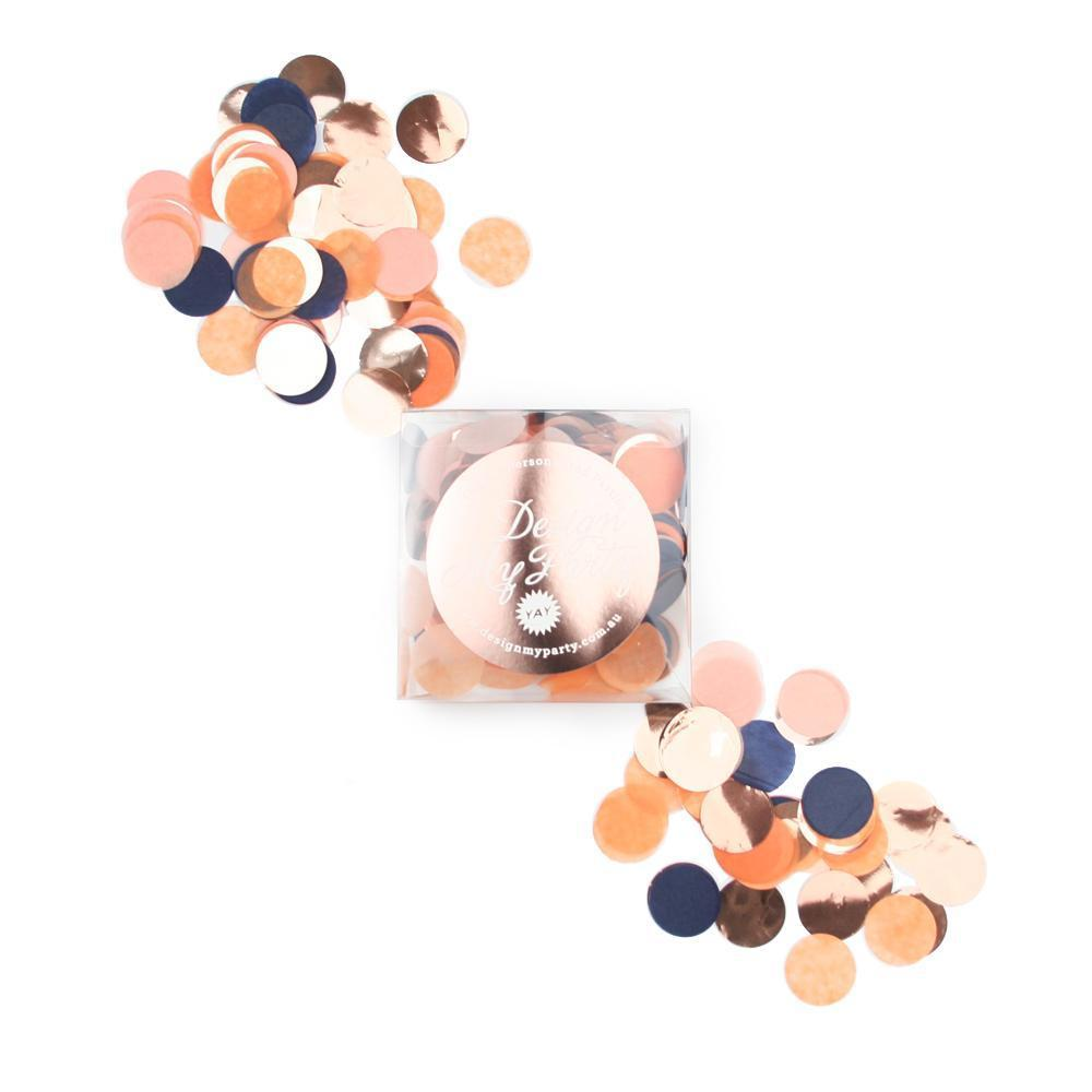 Sunset Glam Confetti - Peach, Navy Apricot, Rose Gold Copper-Party Love