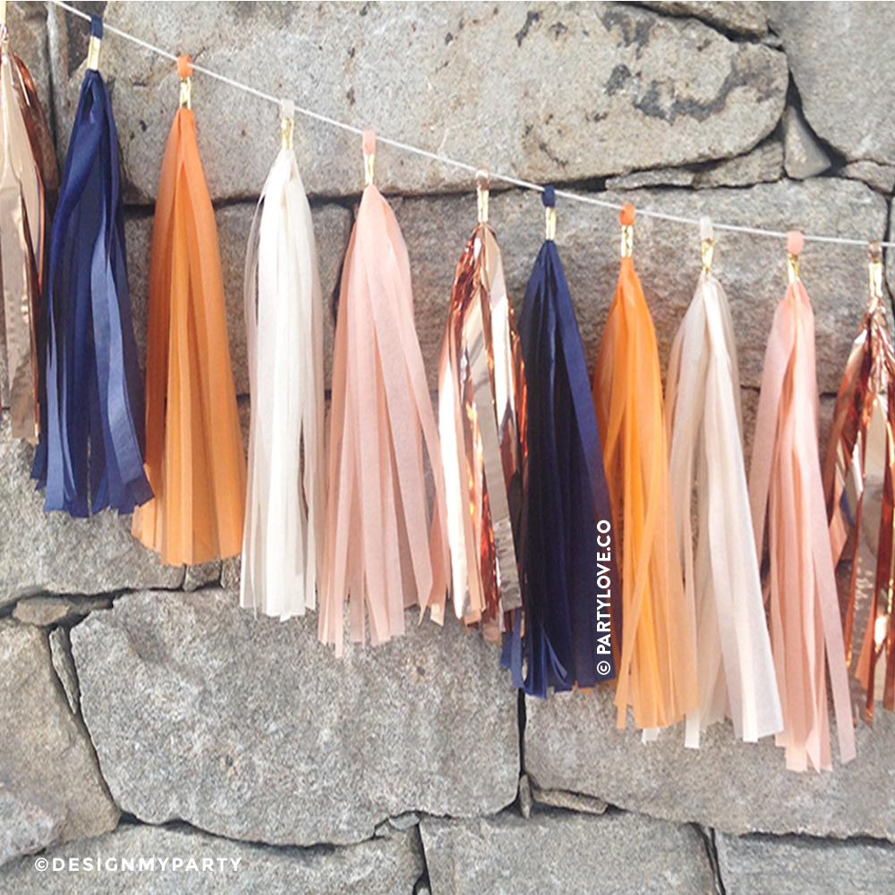 Sunset Glam - Peach, Navy, Rose Gold, Ivory, Apricot Tassel Garland-Party Love