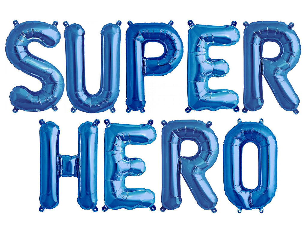 Super Hero Blue Foil Balloons-Party Love